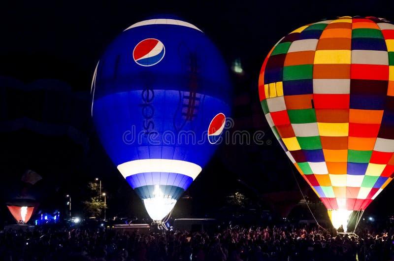 Het Festival Colorado Springs Colorado van de hete Luchtballon bij nacht stock fotografie