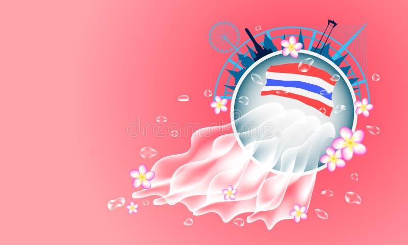 het festival Thailand van de zomersongkran waterdaling van kom en kleurrijke bloem Vector illustratie vector illustratie