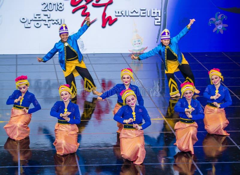 2018 het festival van Andong Maskdance stock foto's
