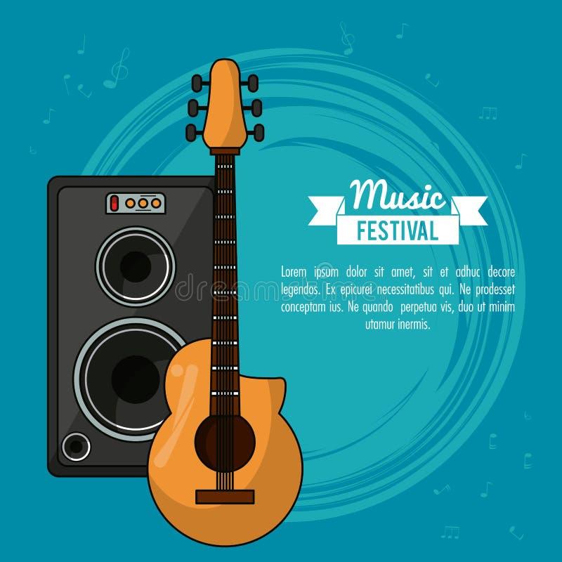 Het festival van de affichemuziek op blauwe achtergrond met gitaar en sprekersvakje royalty-vrije illustratie