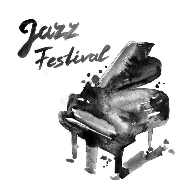 Het festival van de jazzmuziek, affiche achtergrondmalplaatje De illustratie van de waterverf royalty-vrije illustratie