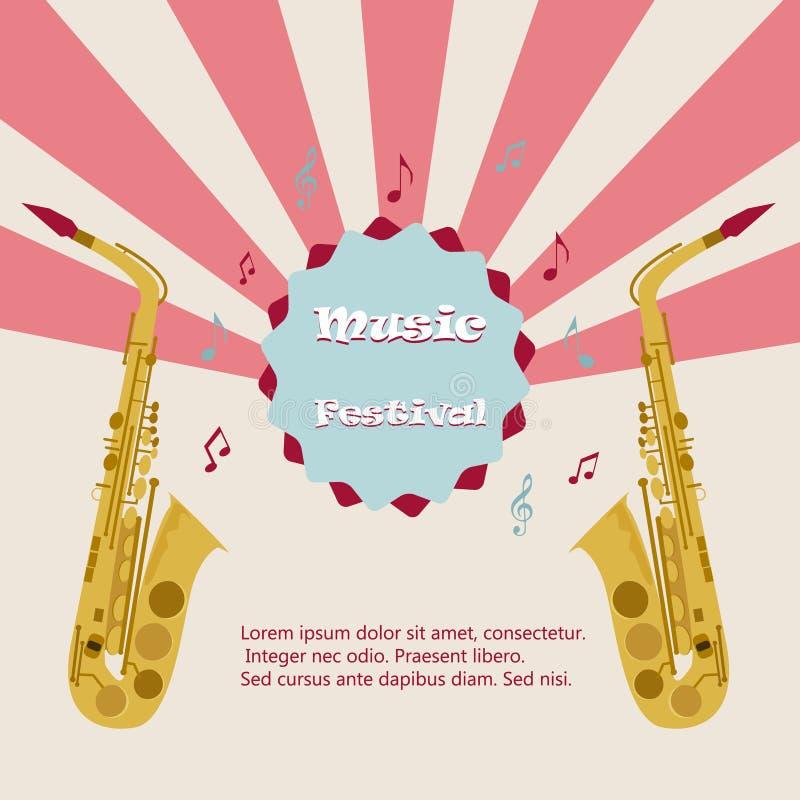 Het festival van de jazzmuziek, affiche achtergrondmalplaatje Saxofoon met muzieknota's Vlieger Vectorontwerp stock illustratie