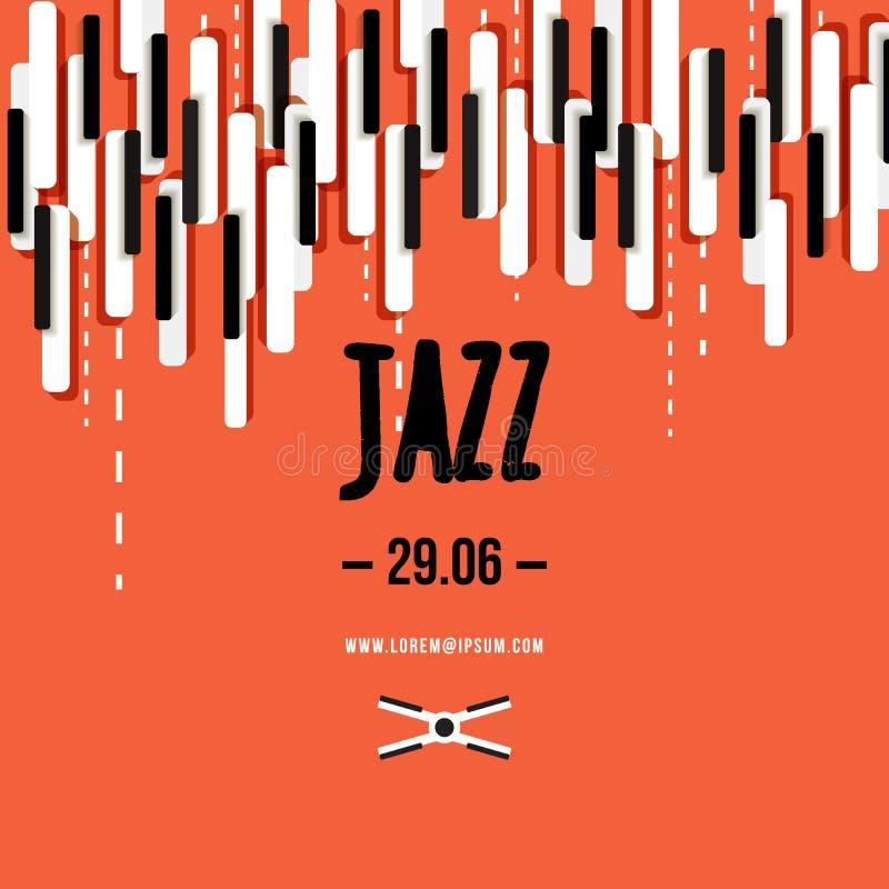 Het festival van de jazzmuziek, affiche achtergrondmalplaatje Toetsenbord met muzieksleutels Vlieger Vectorontwerp royalty-vrije illustratie