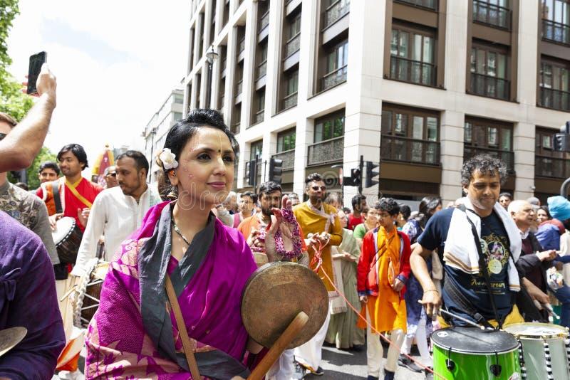 Het festival van hazenkrishna in Londen stock afbeelding