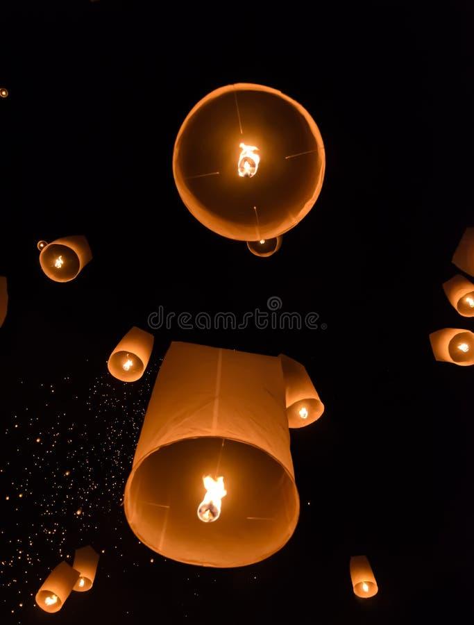 Het festival van hemellantaarns of het festival van Yi Peng royalty-vrije stock afbeelding