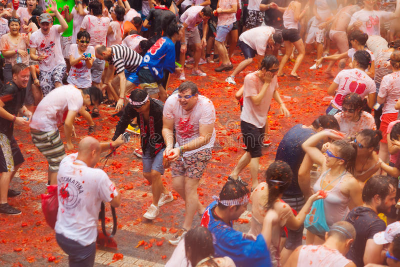 Het festival van La Tomatina stock foto's
