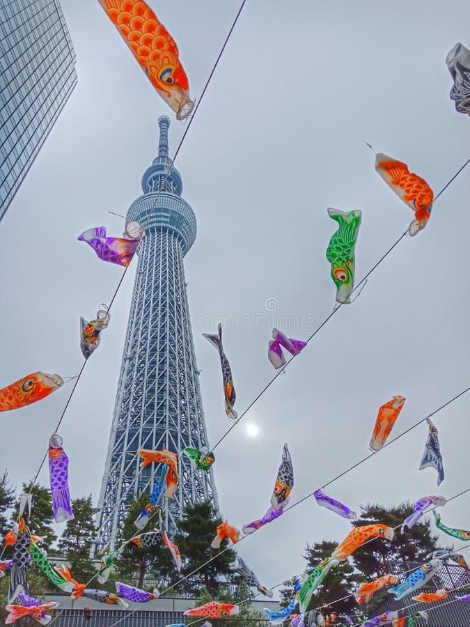 Het festival van skytree koi-geen-bori van Tokyo, Kinderen 'dag, Japan stock fotografie