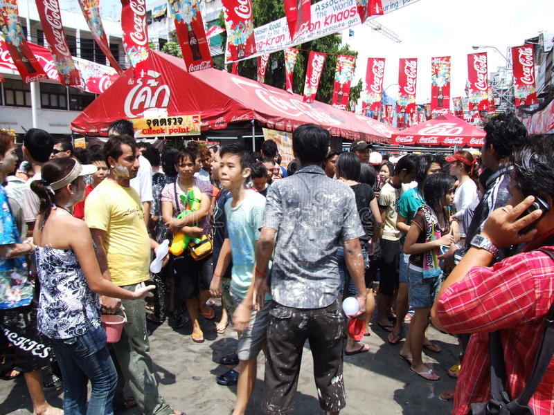 Het festival van Songkran, Bangkok, Thailand. stock foto