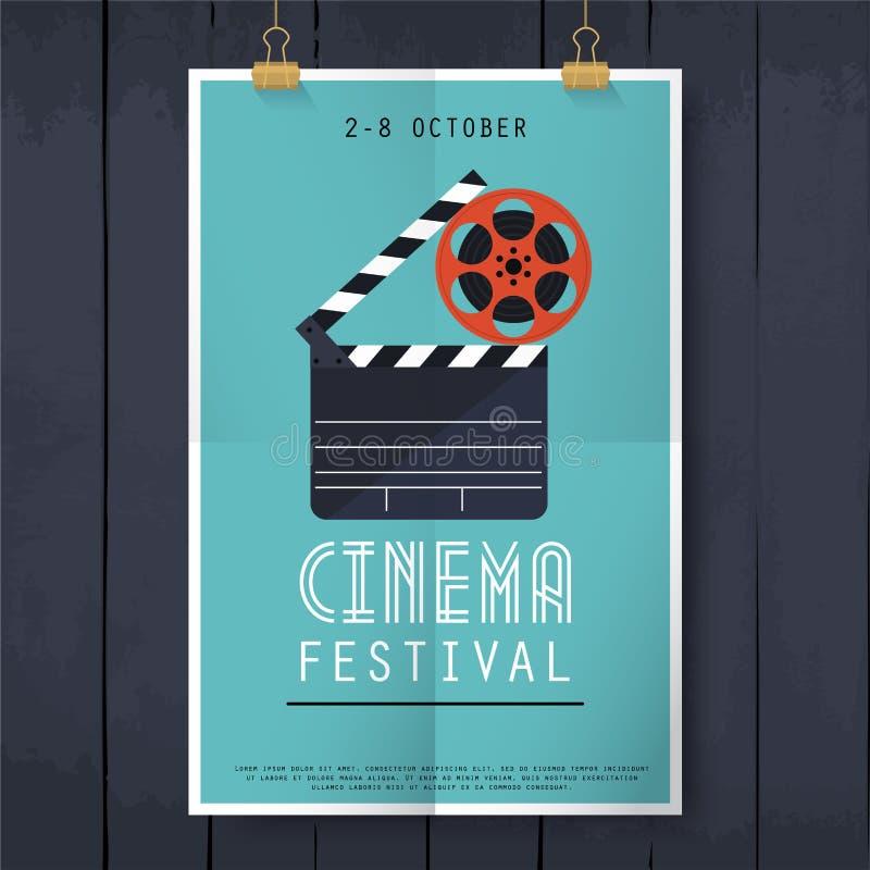 Het festivalaffiche van de filmbioskoop Vlakke ontwerp moderne vectorillustra vector illustratie