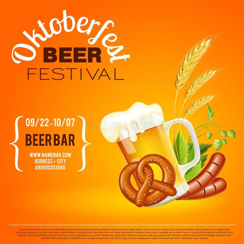 Het festivalaffiche van het Oktoberfestbier stock illustratie