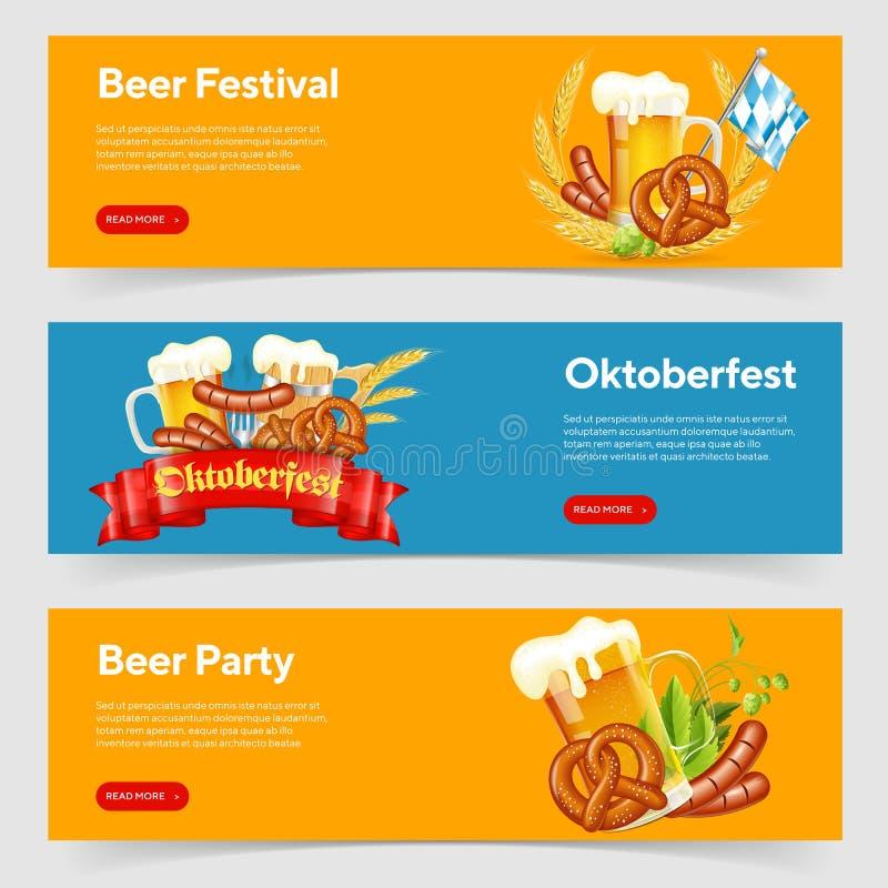 Het Festivalbanners van het Oktoberfestbier royalty-vrije illustratie