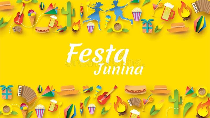 Het het festivalontwerp van Festajunina op document kunst en de vlakke stijl met Partijvlaggen en Document Lantaarn, kunnen voor  royalty-vrije illustratie