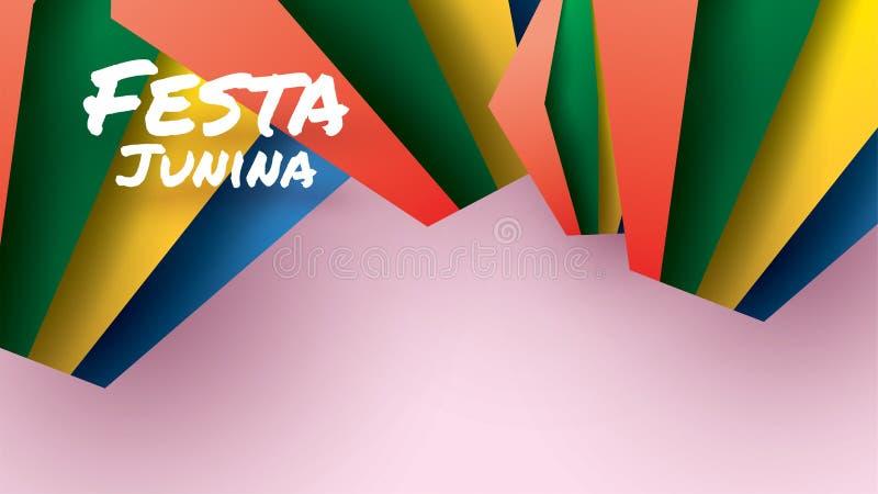 Het festivalontwerp van Festajunina op document kunst en vlakke stijl met Partijvlaggen en Document Lantaarn voor banner of affic stock illustratie