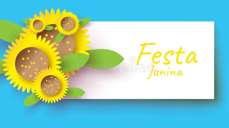 Het festivalontwerp van Festajunina op document kunst en vlakke stijl met zonnebloem voor banner of afficheconcept - Het vector royalty-vrije illustratie