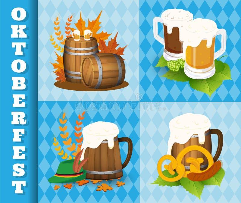 Het Festivalpictogrammen van het Oktoberfestbier en Symboolvoorwerpen vector illustratie