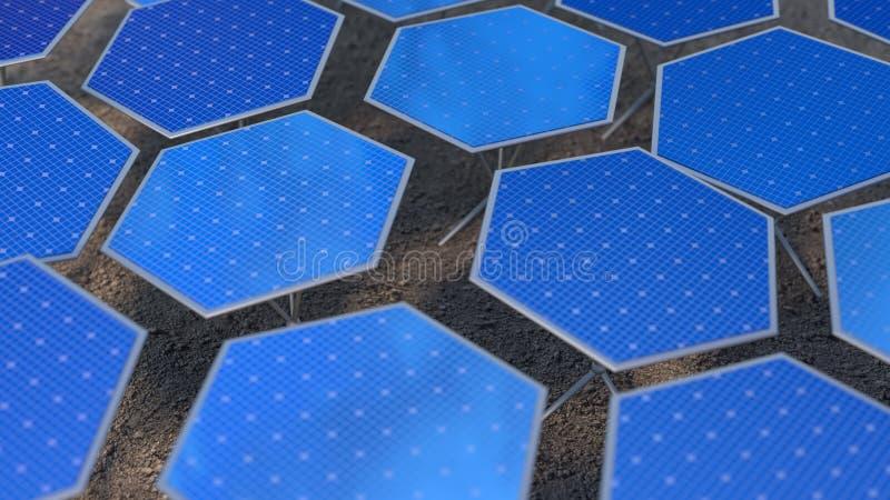 Het fictieve zonnepanelen 3D teruggeven stock illustratie