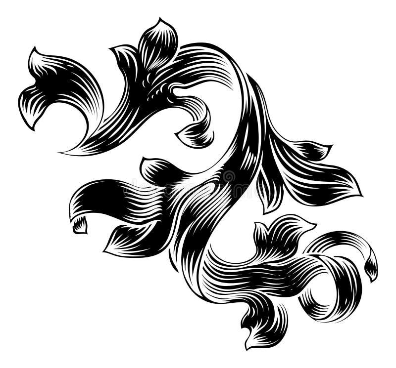 Het filigraan Heraldische Bloemenontwerp van de Patroonrol stock illustratie