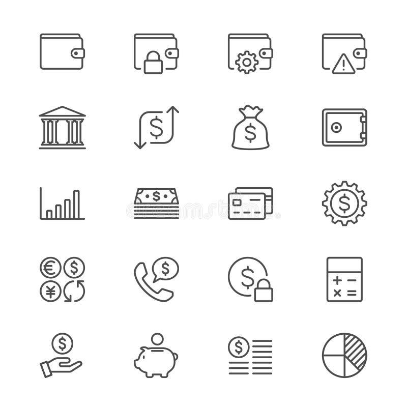 Het financiële beheer verdunt pictogrammen royalty-vrije illustratie