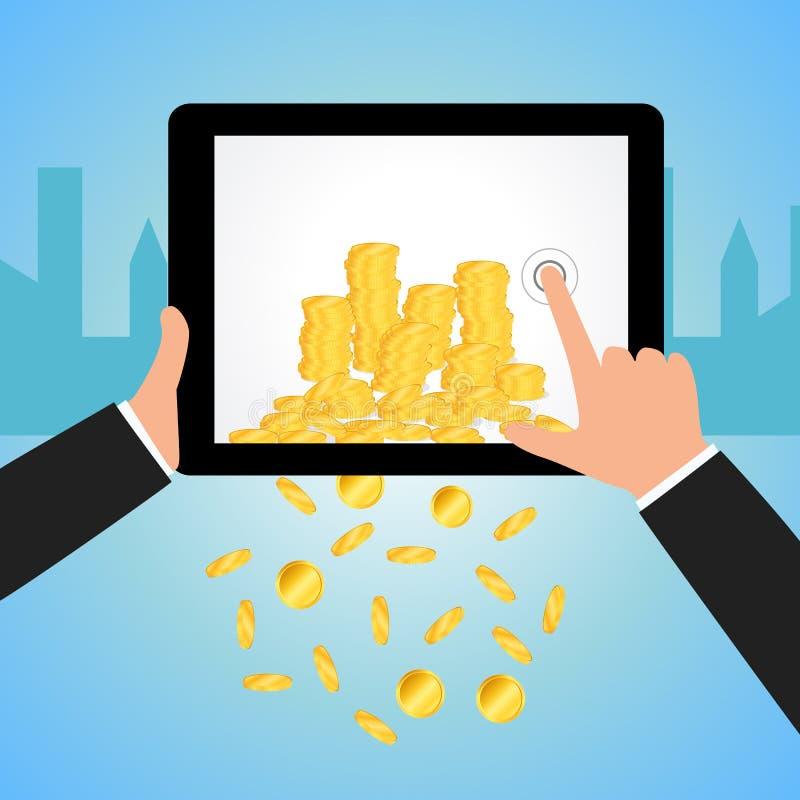 Het financiële Concept maakt Geld van Internet-whit tablet vector illustratie