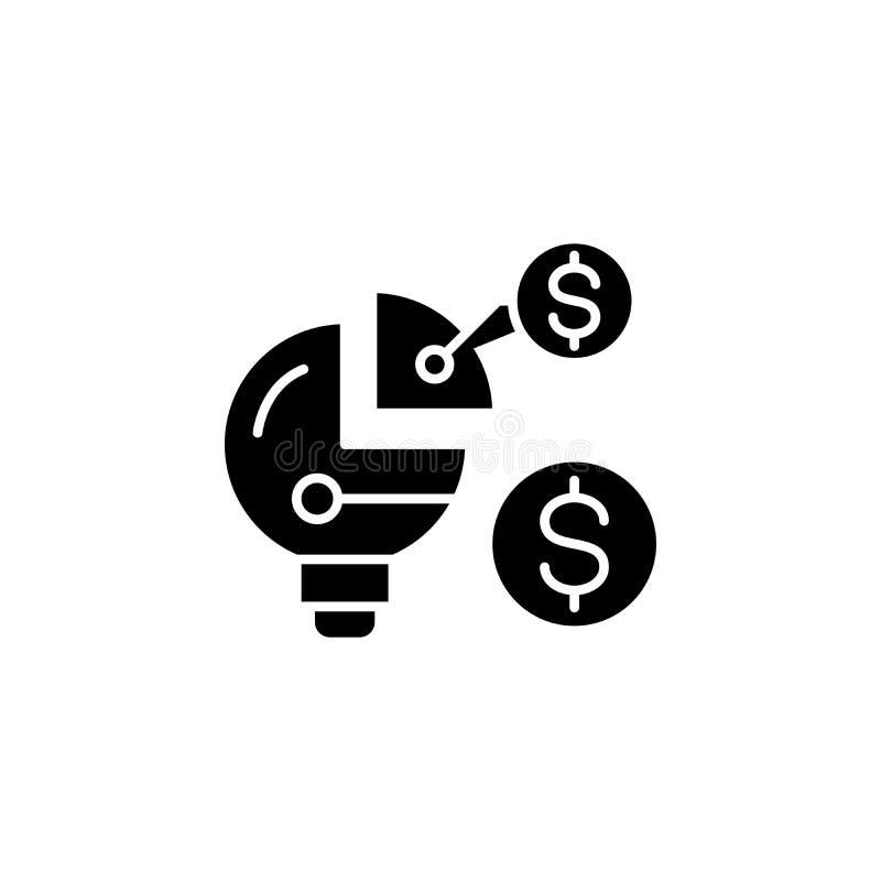 Het financiële concept van het structuur zwarte pictogram Financieel structuur vlak vectorsymbool, teken, illustratie vector illustratie