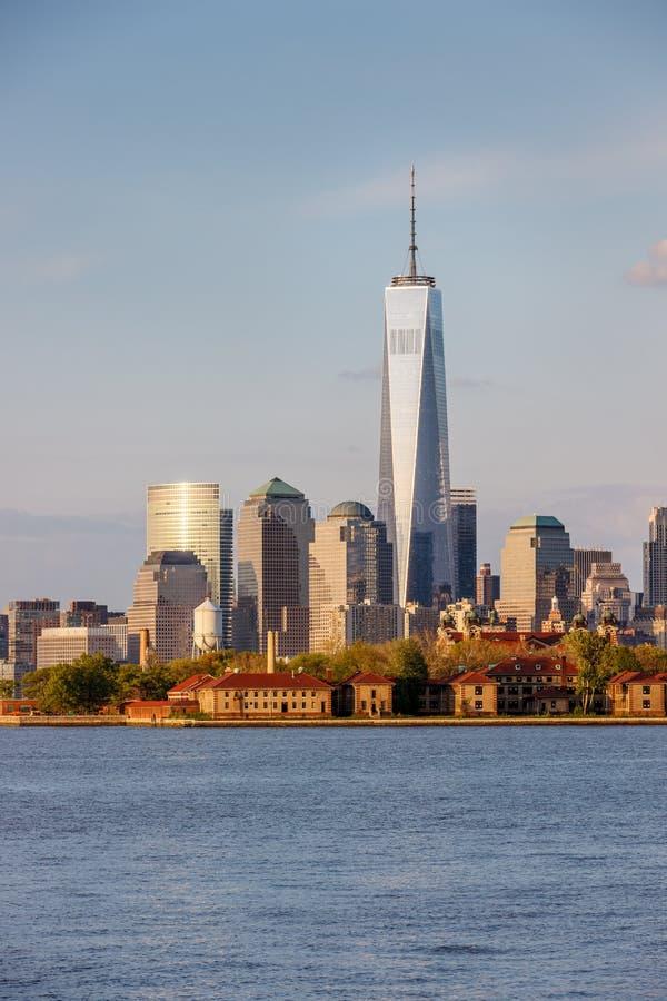 Het Financiële District van Ellis Island en van Manhattan, de Stad van New York stock fotografie