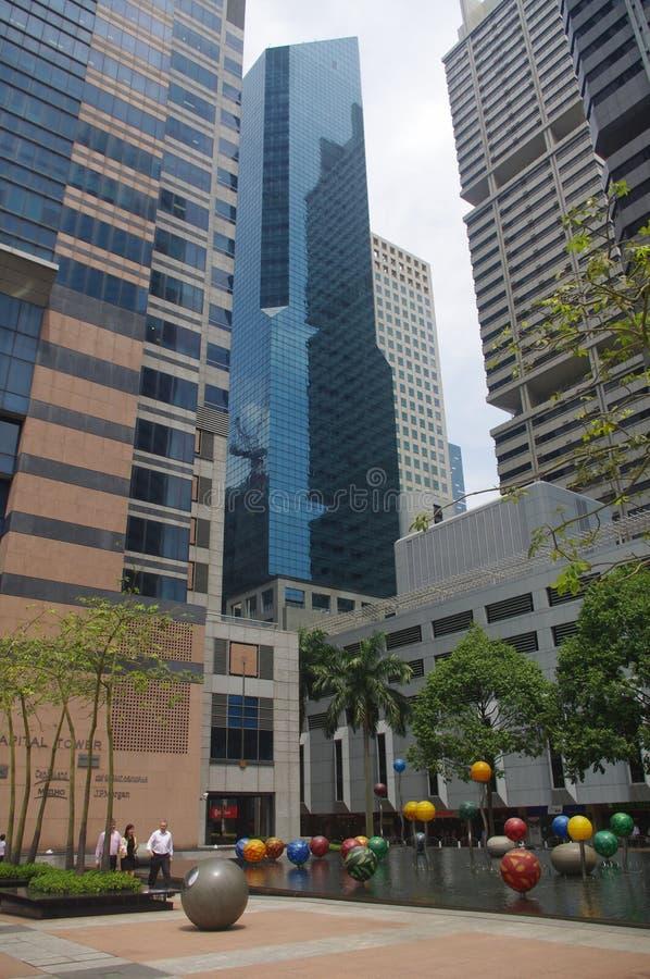 Het financiële district van Singapore stock afbeelding