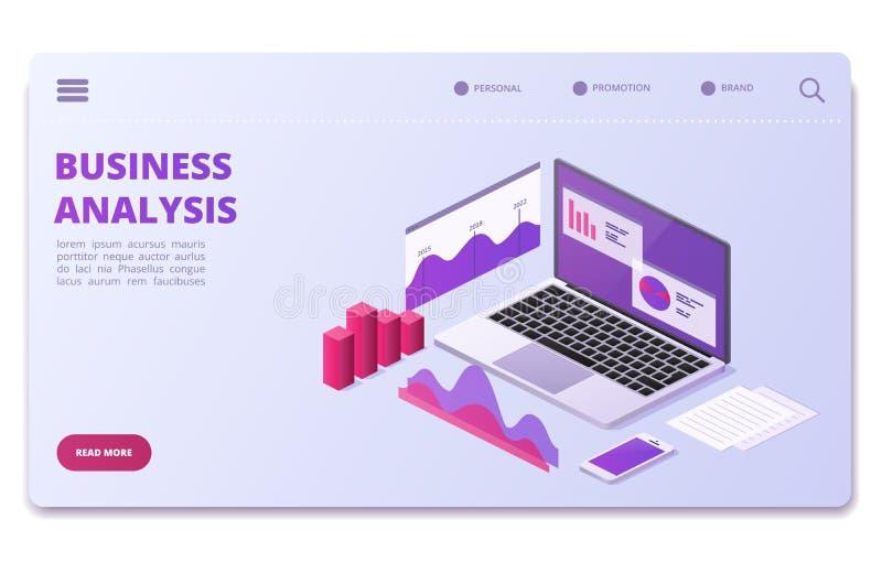 Het financiële malplaatje van de analytics vectorpagina Bedrijfsstatistiekengrafieken, diagrammen vector illustratie