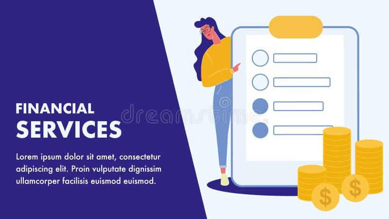 Het financiële Malplaatje van de de Diensten Vlakke Vectorbanner vector illustratie