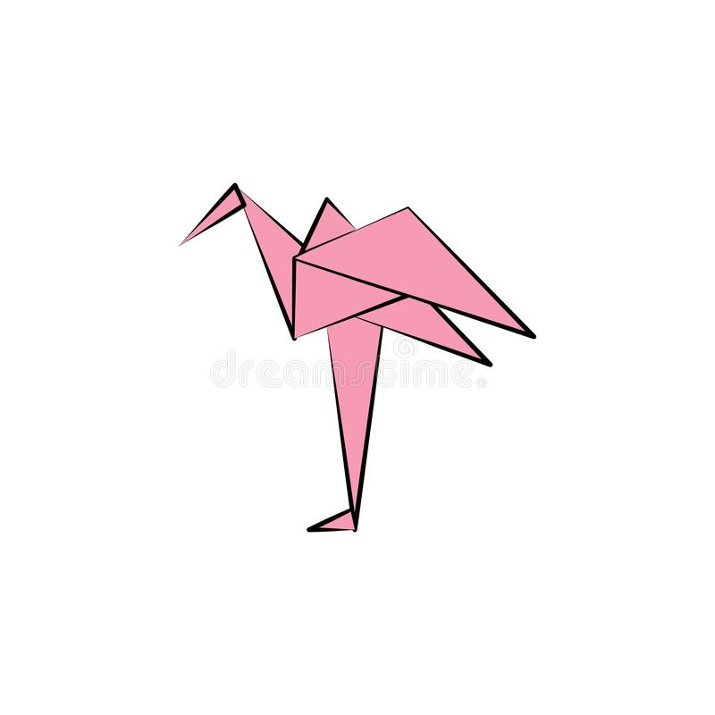 het flamingo gekleurde pictogram van de origamistijl Element van dierenpictogram Gemaakt van document in pictogram van de de Illu stock illustratie