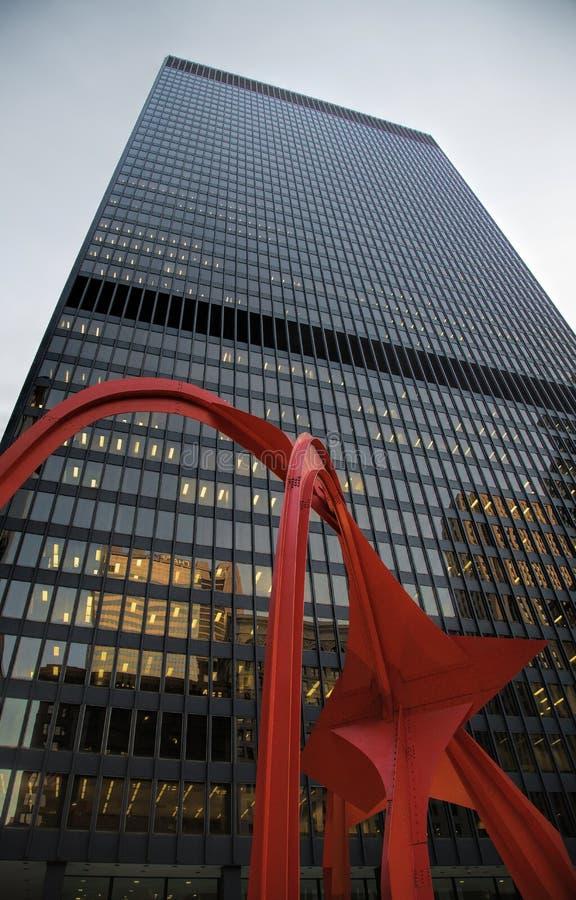 Het Flamingobeeldhouwwerk in Chicago Van de binnenstad stock fotografie