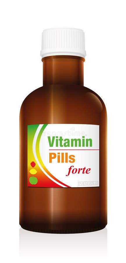 Het Flesje van de de Geneeskundefles van vitaminepillen royalty-vrije illustratie