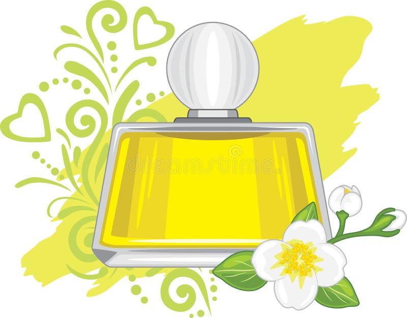Het flesje van de jasmijnolie royalty-vrije illustratie