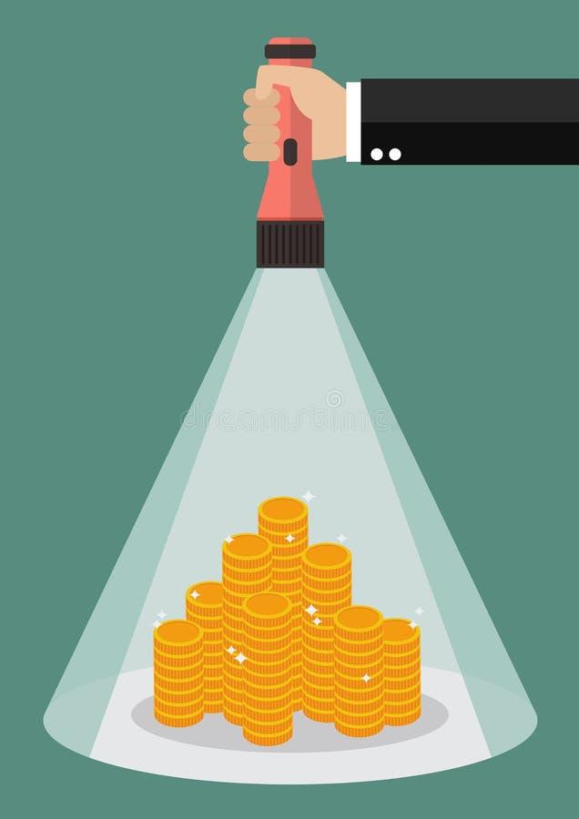 Het flitslichtgloed van de handholding aan het geld royalty-vrije illustratie