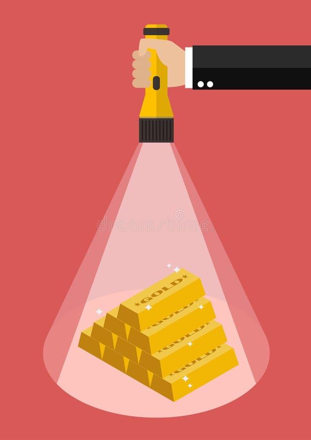 Het flitslichtgloed van de handholding aan het geld stock illustratie