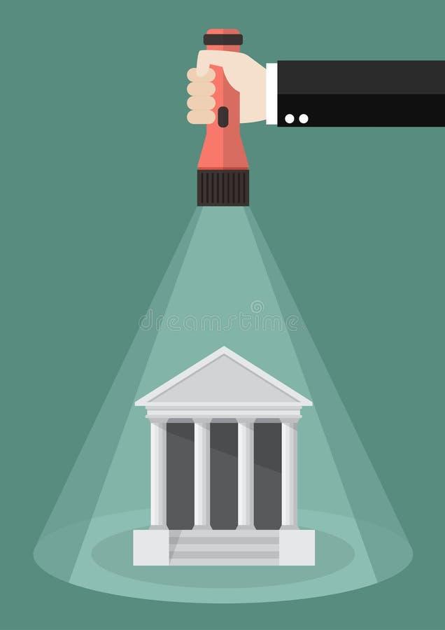 Het flitslichtgloed van de handholding aan het geld vector illustratie