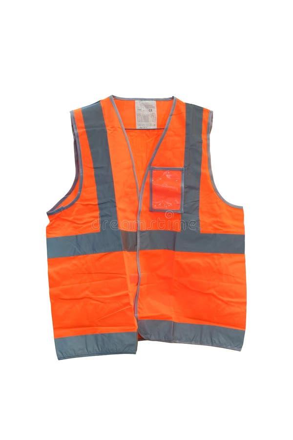 Het fluorescente oranje vest met weerspiegelende stroken, wordt Vest gemaakt van polyesterstof royalty-vrije stock foto