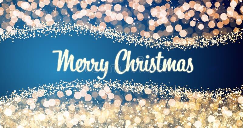 Het fonkelen gouden en zilveren Kerstmislichten met het Vrolijke bericht van de Kerstmisgroet op rode achtergrond, sneeuw, verstr royalty-vrije stock afbeeldingen
