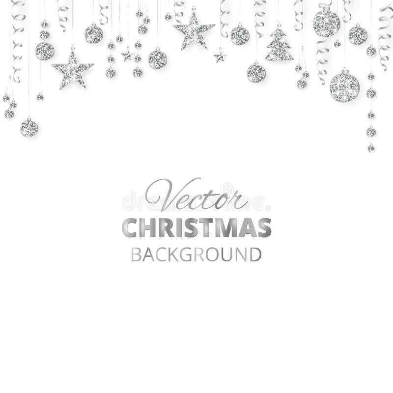 Het fonkelen Kerstmis schittert ornamenten Zilveren fiestagrens, feestelijke slinger met het hangen van ballen en linten vector illustratie