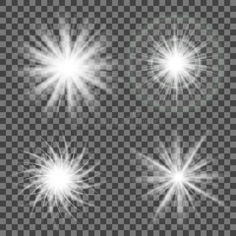 Het fonkelen licht op grijs Het gloeien licht op transparante achtergrond stock illustratie