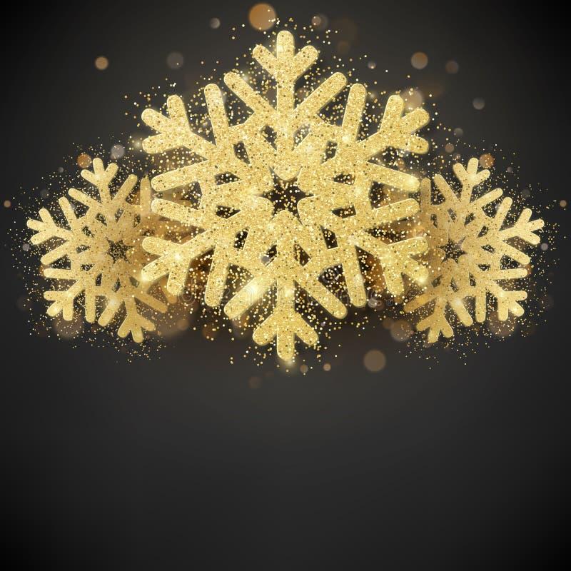 Het fonkelen schittert behandelde gouden sneeuwvlok Uitnodigings gelukkig Nieuwjaar en Kerstkaartmalplaatje Eps 10 stock illustratie