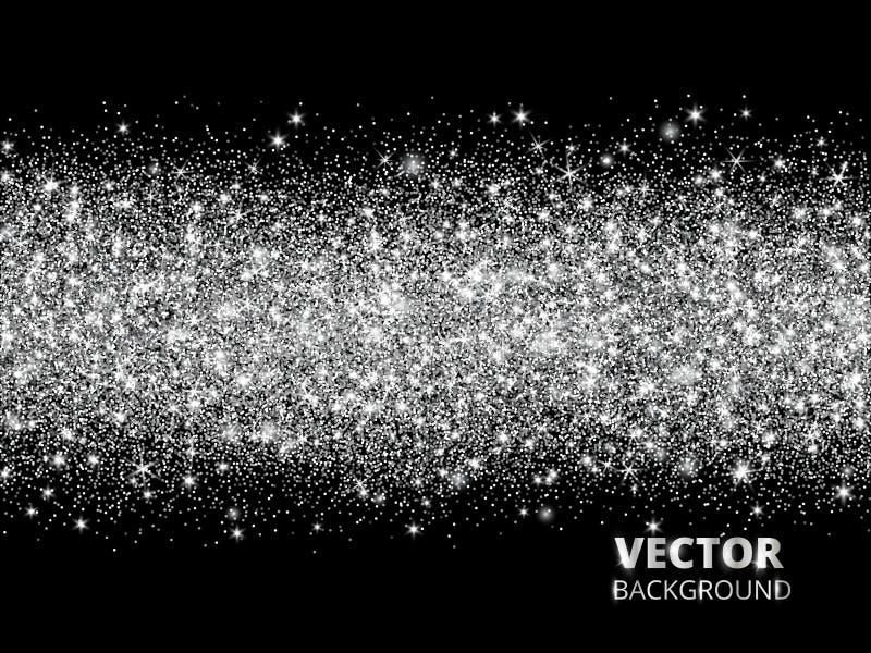 Het fonkelen schittert grens op zwarte achtergrond De zilveren rechthoek van schittert confettien, vectorstof royalty-vrije illustratie