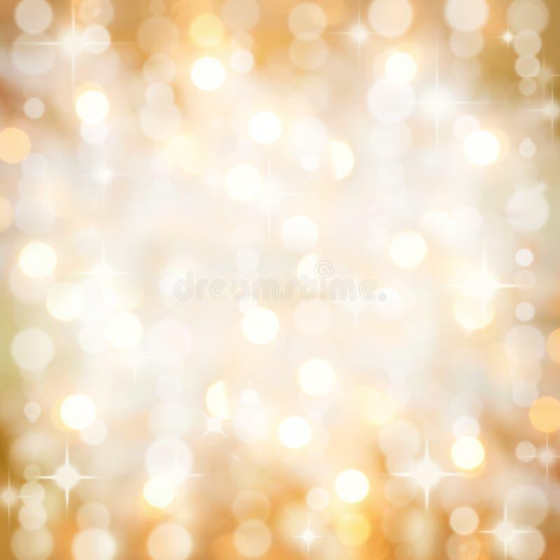 Het fonkelen steekt de gouden partij van Kerstmis achtergrond aan royalty-vrije stock foto