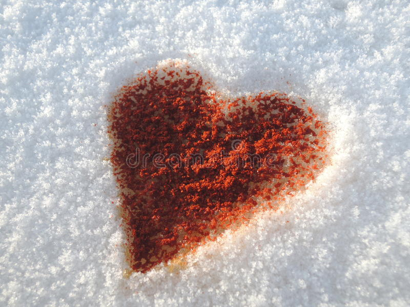 Het fonkelen sterke liefde - sneeuw en Spaanse peper royalty-vrije stock foto