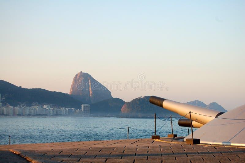 Het fort en het suiker-brood van Copacabana stock foto