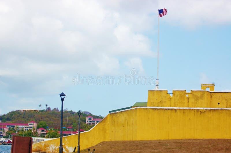 Het fort hristiansted st croix ons maagdelijke eilanden stock afbeelding
