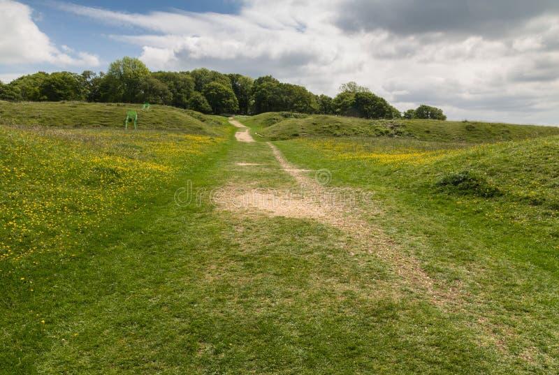 Het fort van de het Ijzertijdperkheuvel van Badburyringen royalty-vrije stock foto