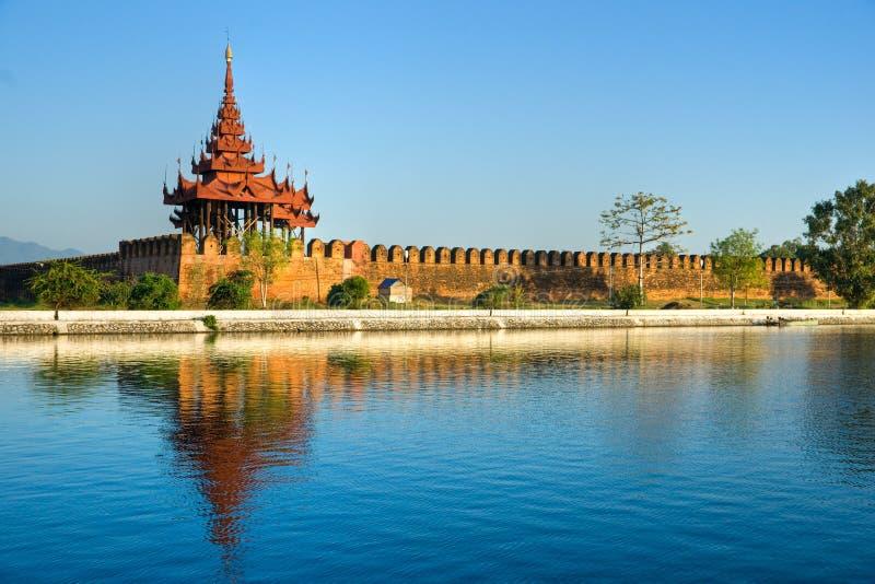 Het fort van Mandalay, Myanmar. stock afbeeldingen
