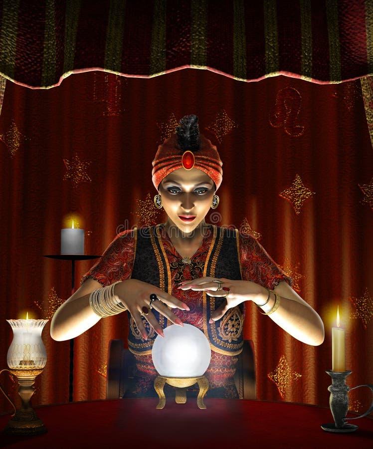 Het fortuinteller van de mysticus vrouwelijke Zigeuner met een aangestoken kristallen bol stock illustratie