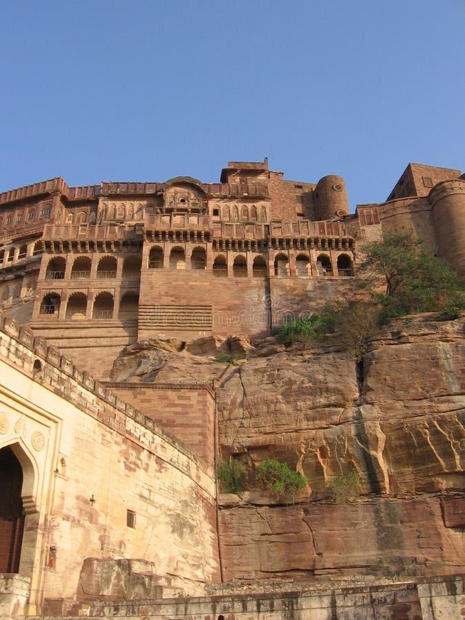 Het fortvoorzijde van Meherangarh, Rajasthan, Jodhpur, India stock afbeeldingen