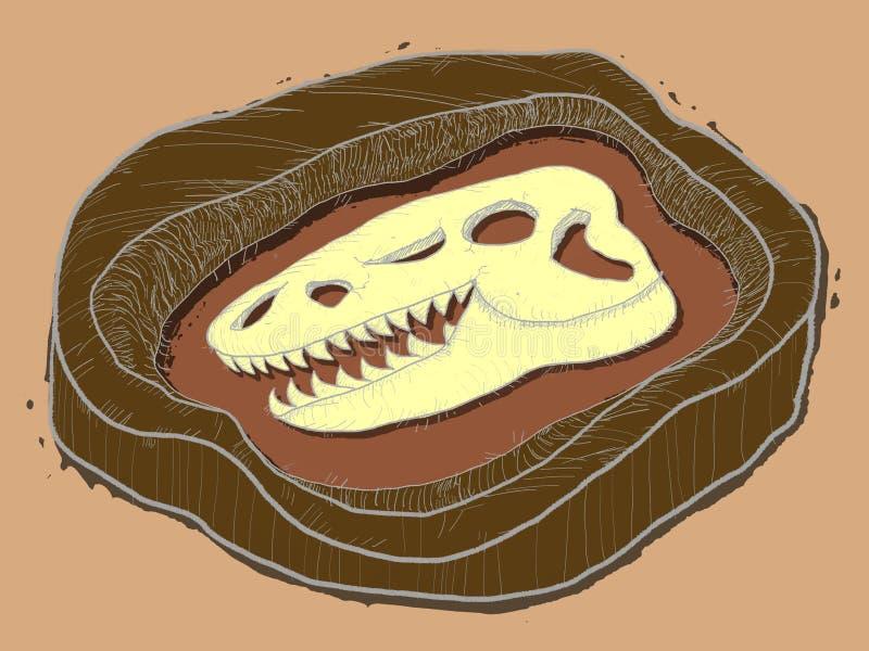 Het fossiel van dinosaurusbeenderen stock illustratie
